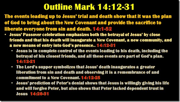 Mark 14.12-31 outline