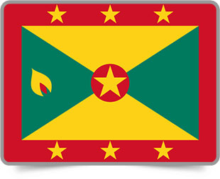 Grenadian framed flag icons with box shadow