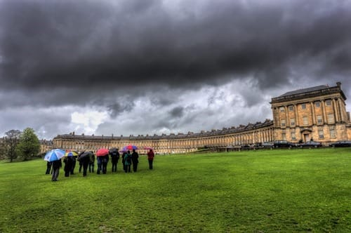 Bath royal crescent cloud people