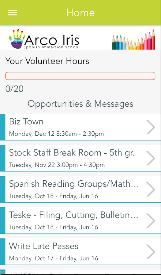 Parent Booker App- screenshot