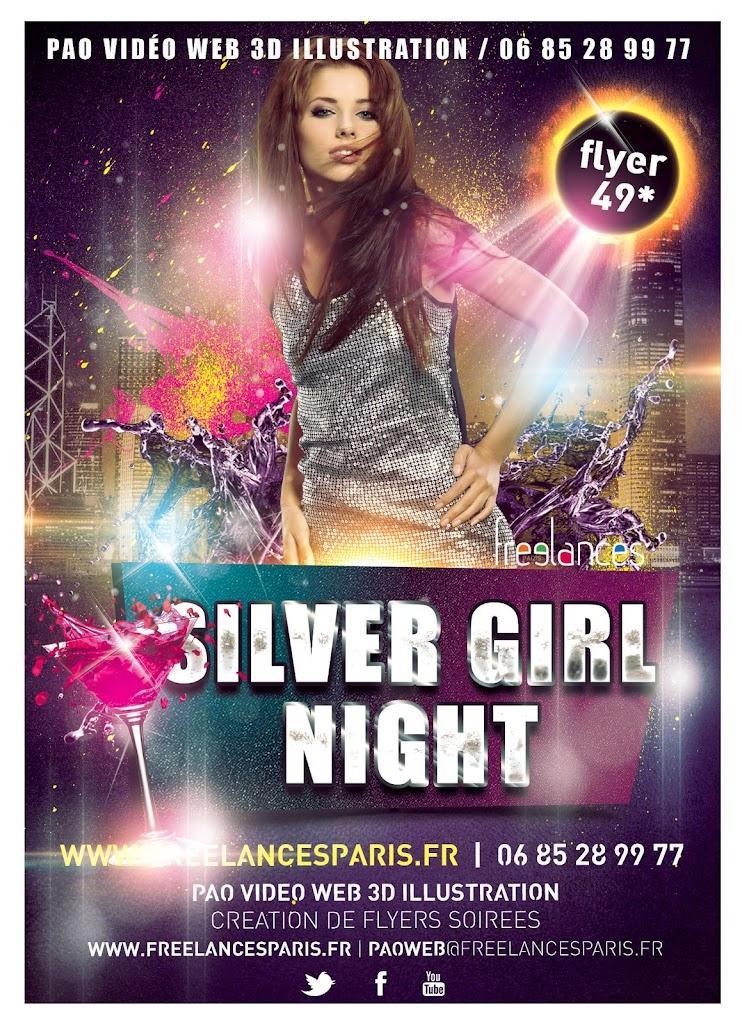 création flyers soirées thème Silver Girl Night