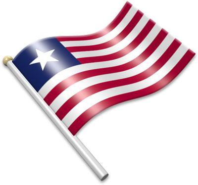 The Liberian flag on a flagpole clipart image