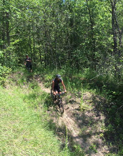 Many Point Scout camp mtb group on the trail Friday afternoon.