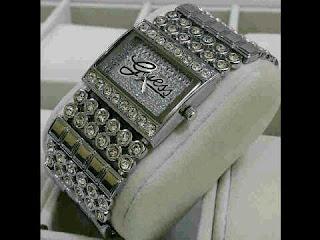 jam tangan Guess rantai full mata silver logo