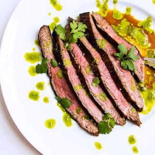 Grilled Flank Steak with Cilantro-Scallion Purée