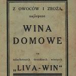 """""""Z owoców i zboża najlepsze wina domowe"""", Liva-Win, Poznań 1933.JPG"""
