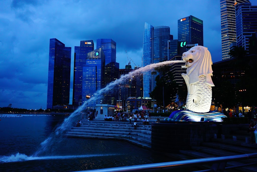 Merlion at night Singapore