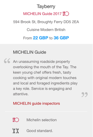 Tayberry Restaurant Review in Michelin Guide 2017