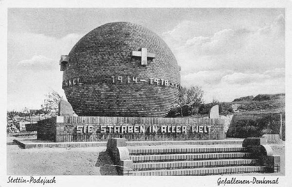 nieistniejący pierwszowojenny pomnik-kula w Podjuchach