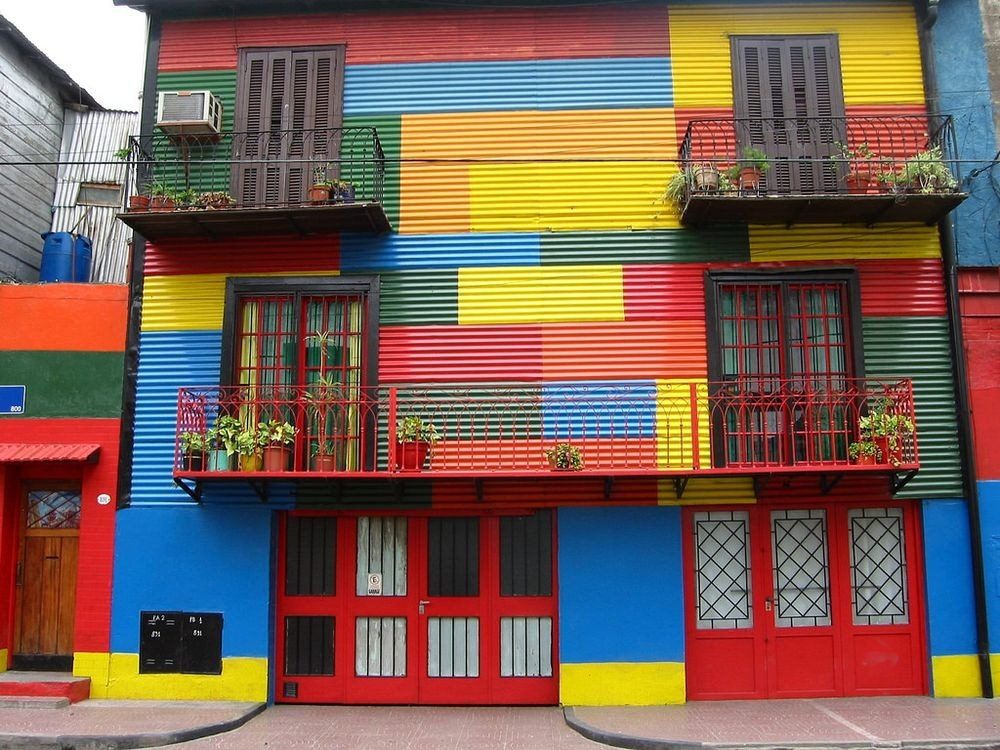 La Boca Buenos Aires Colorful District on a dark place