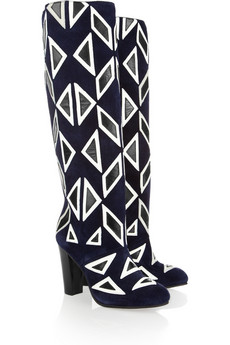 Diane von Furstenberg Phoebe Leather-Appliquéd Suede Knee Boots