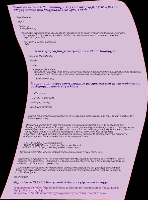 Ερώτηση  για την επιστολή 08.05.2018