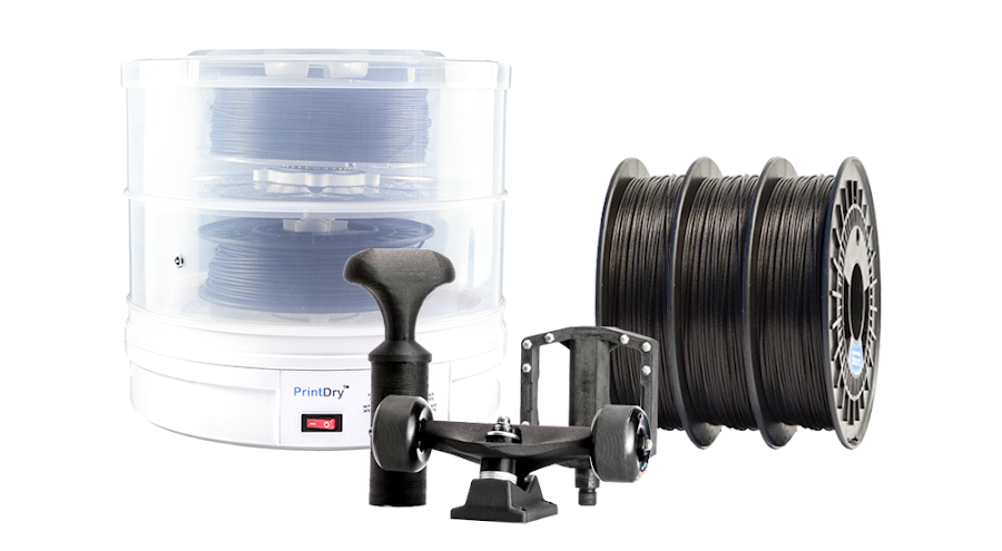 Filament drying systems like PrintDry are highly recommended to remove moisture from hygroscopic filaments for maximum strength and durability in your 3D prints.