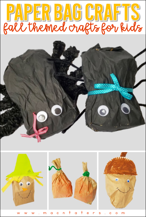 Fall Themed Paper Bag Crafts for Kids: SPider Craft, Scarecrow Craft, Pumpkin Craft, Acorn Craft