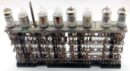 Top of an IBM tube module type 330567. The red dots indicate 6211 tubes and the green dots indicate 5965 tubes.