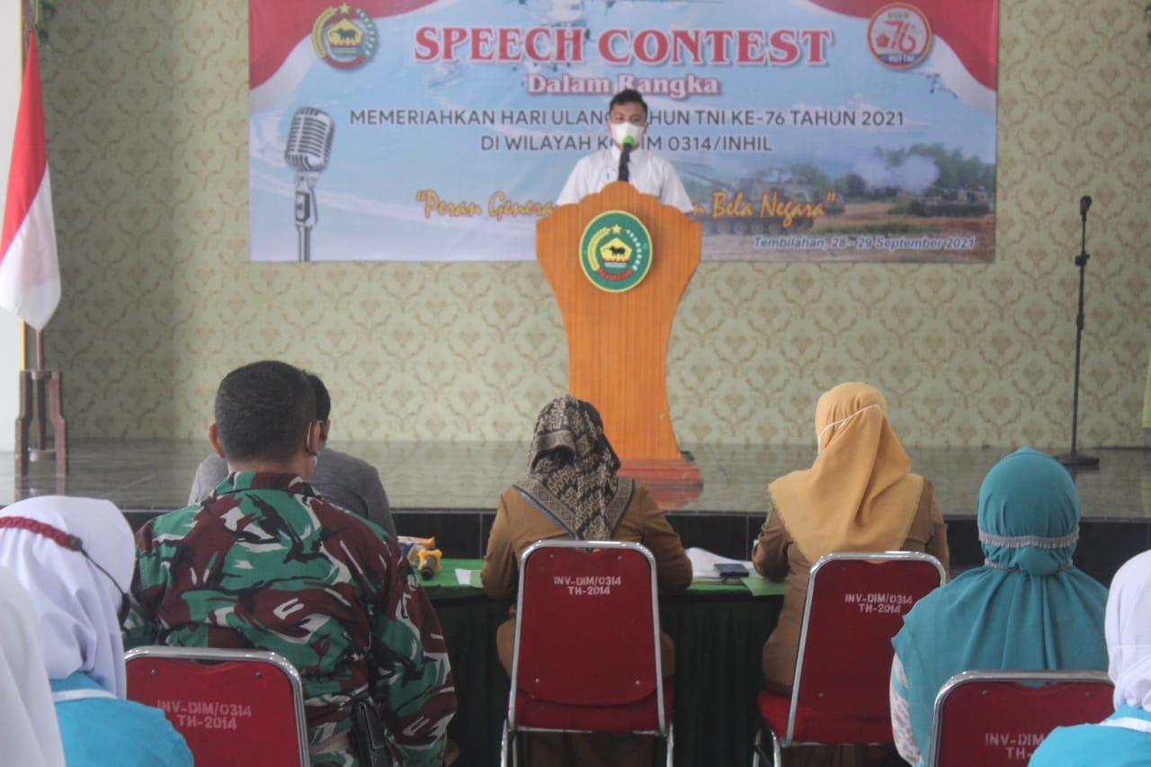 Kodim 0314 Inhil Taja Speech Contest 'Peran Generasi Muda Dalam Bela Negara'