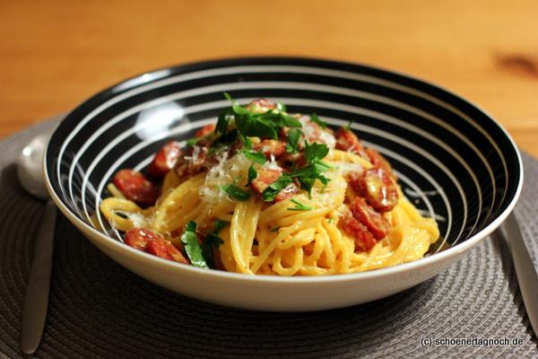 Spaghetti alla Carbonara mit Chorizo