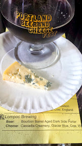 Portland Beer and Cheese Festival 2014, a pairing of beer and cheese, here Lompoc Brewing Bourbon Barrel Aged Dark Side Porter with Cascadia Creamery – Glacier Blue – cow – Washington