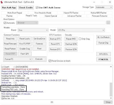 VIVO Y12s Qualcomm Pattern Unlock in UMT