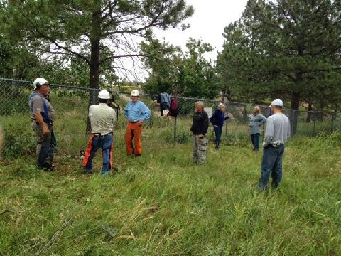 460' of Fence Line Clearing Sept 2014: 7 of the 8 in the crew taking a much needed break