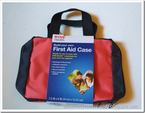 A red first aid kit case from CVS, the drug store.