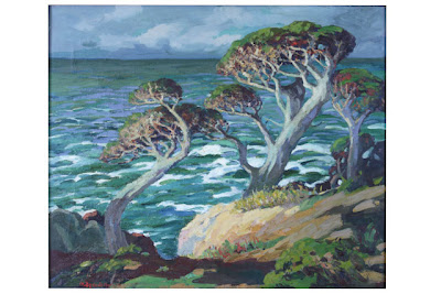 Cypresses, Trees and Ocean, M. (Mary) DeNeale Morgan (1868-1948), oil on canvas, City of Monterey Collection
