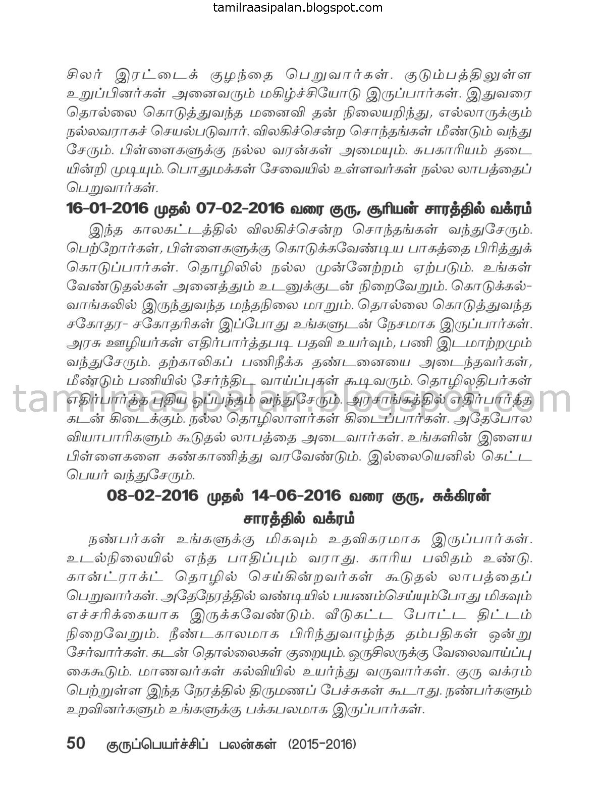 Thulam Guru Peyarchi Palan-2015-2016 Free Online