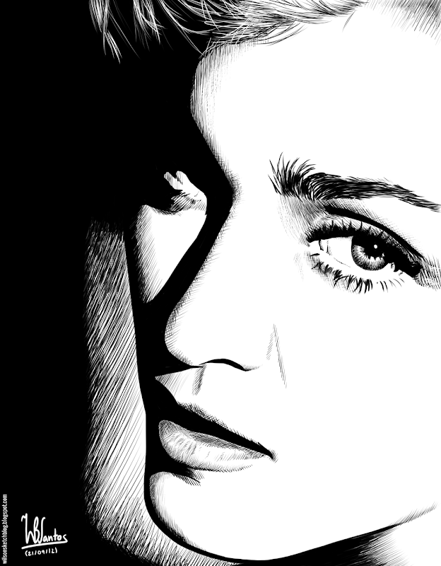 Ink drawing of Madonna, using Krita 2.5.