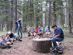 Tool making at Sunrise Campground, Paseo del Lobo July 13-15 (Photo by C. Miller)