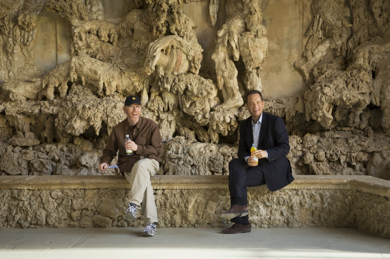 Director/Producer Ron Howard and Tom Hanks on the set of INFERNO. (Photo by Jonathan Prime / courtesy of Columbia PIctures).