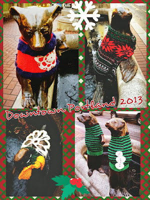 Downtown Portland had an #uglysweaterpdx Christmas Decorations on statues