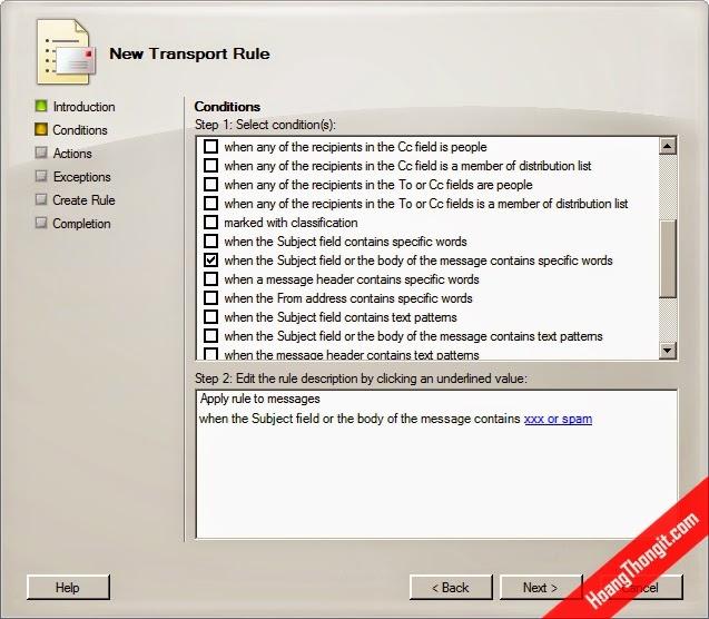 Cấu hình lọc mail bằng Transport Rule