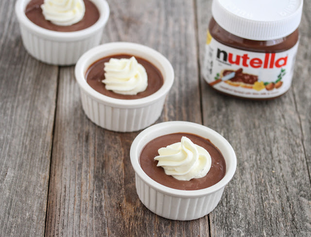 overhead photo of three bowls of nutella mousse