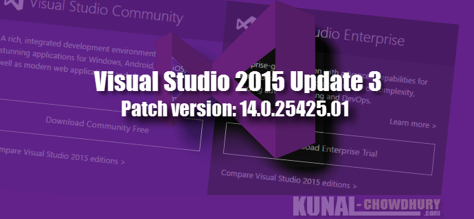 Visual Studio 2015 Update 3 Patch (KB3165756, 14.0.25425.01)