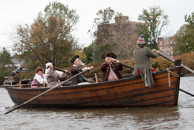 RE-ENACTORS ON  BATTOE 'MOON' ON THE HACKENSACK RIVER passing the home of TomHartPhoto.com. Photos by TOM HART/  FREELANCE PHOTOGRAPHER.