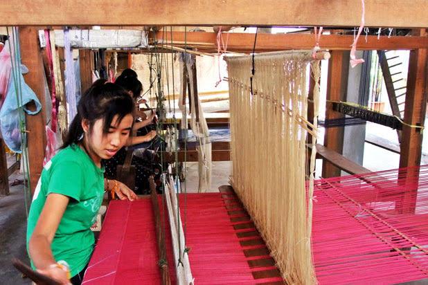 Silk weaving in Laos