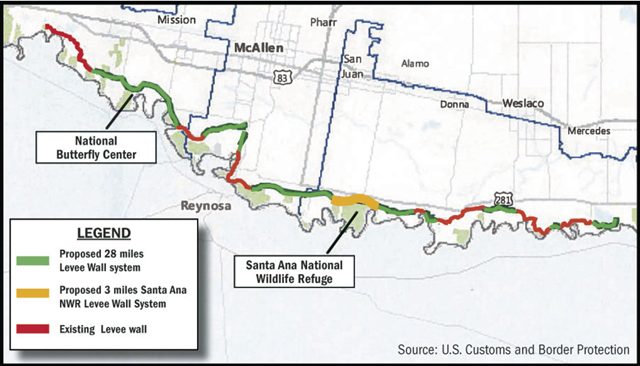 "Map of the proposed U.S./Mexico border wall would cut through the Santa Nana wildlife refuge, causing ""serious environmental and economic damage"". Graphic: U.S. Customs and Border Protection"