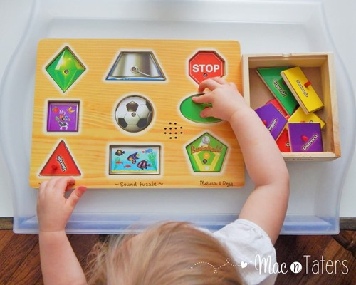 Melissa & Doug Shape Puzzles are the perfect tot tray activity for learning and practicing shapes.