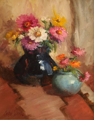 """Zinnias in Pottery on Indian Rug"""