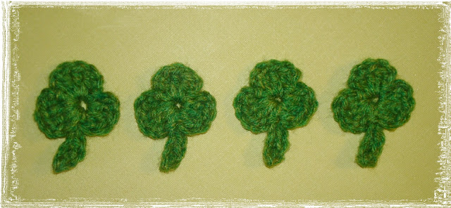crocheted shamrock clover