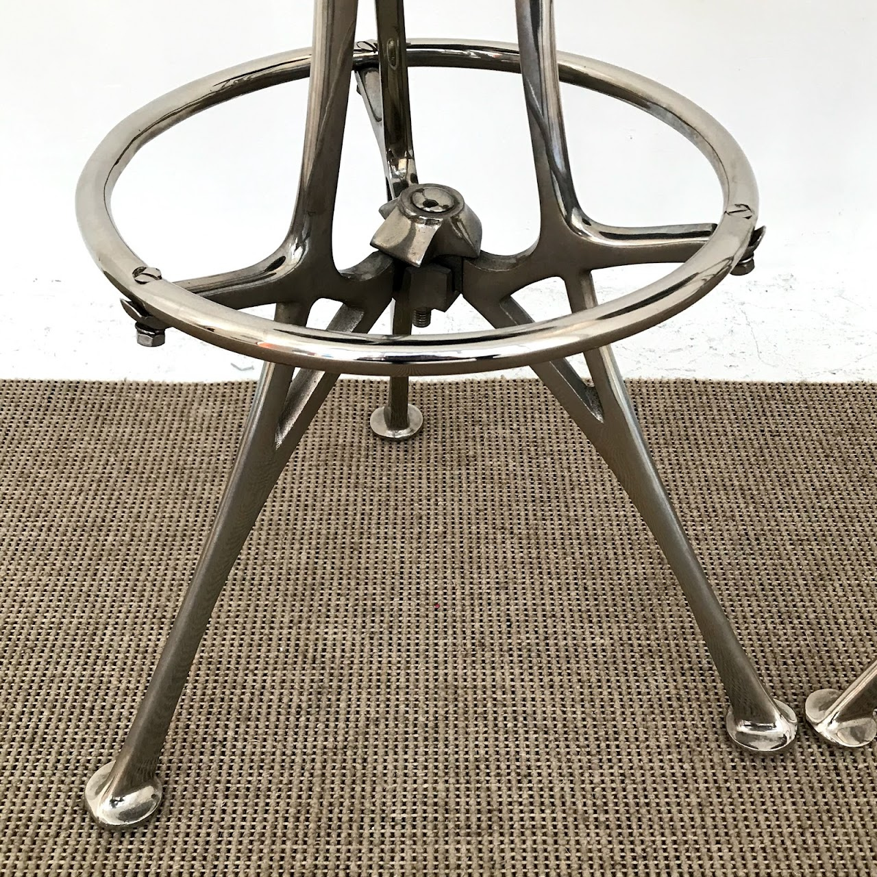 Contemporary Chrome Bar Stool Pair #1