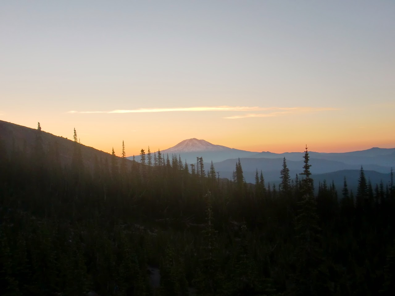 First sun on Mt Adams
