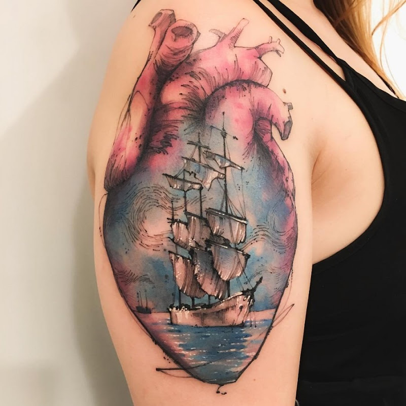 esta_brilhante_navio_esboço_estilo_de_tatuagem