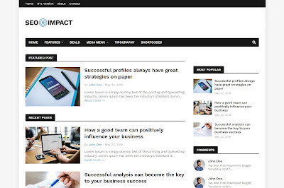 Seo impact premium blogger template free download