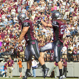 Dan Moore celebrates with Carver after the trick play touchdown.  Washington - Grizzly Stadium, Montana Grizzlies vs. South Dakota Coyotes.  Missoula, MT, September 1st, 2012.