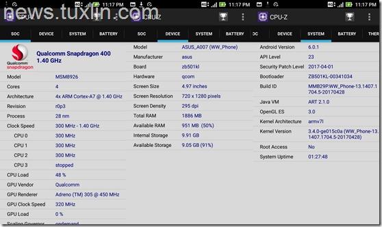 Benchmark Asus Zenfone Live ZB501KL CPU-Z