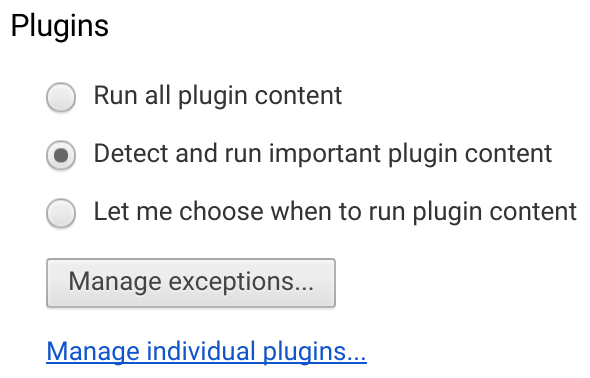 Google Chrome detect and run important plugins