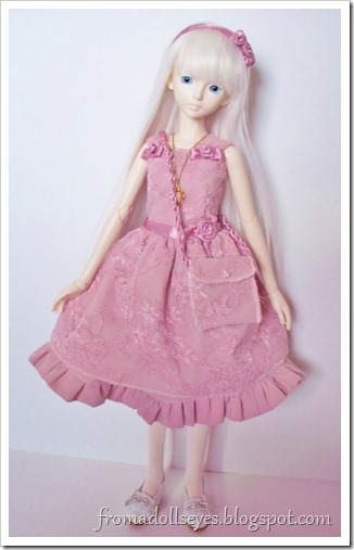 Pink lace dress for a doll with accessories.  A complete outfit!