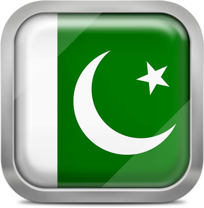 Pakistan square flag with metallic frame