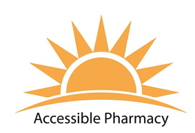 Accessible Pharmacy Logo, clipart of a sun cresting over a hill